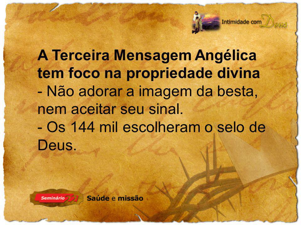 A Terceira Mensagem Angélica tem foco na propriedade divina - Não adorar a imagem da besta, nem aceitar seu sinal. - Os 144 mil escolheram o selo de D