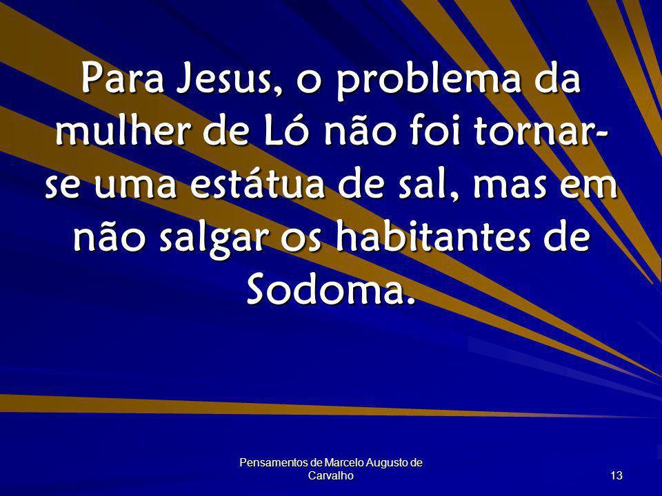 Pensamentos de Marcelo Augusto de Carvalho 13 Para Jesus, o problema da mulher de Ló não foi tornar- se uma estátua de sal, mas em não salgar os habit