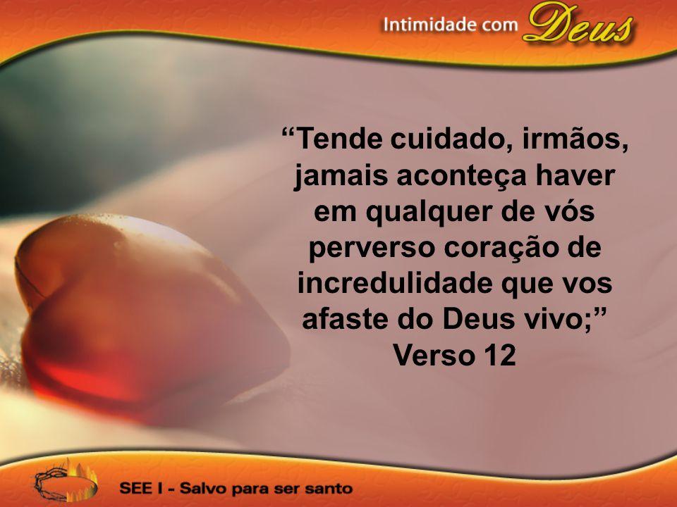 Tende cuidado, irmãos, jamais aconteça haver em qualquer de vós perverso coração de incredulidade que vos afaste do Deus vivo; Verso 12