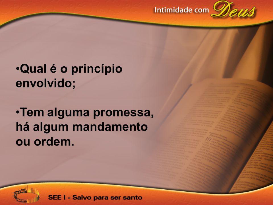 Qual é o princípio envolvido; Tem alguma promessa, há algum mandamento ou ordem.