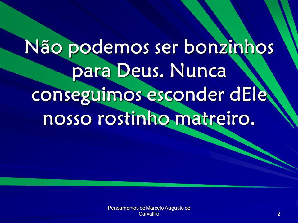 Pensamentos de Marcelo Augusto de Carvalho 2 Não podemos ser bonzinhos para Deus. Nunca conseguimos esconder dEle nosso rostinho matreiro.