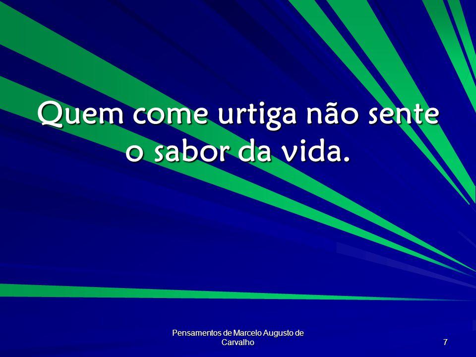Pensamentos de Marcelo Augusto de Carvalho 7 Quem come urtiga não sente o sabor da vida.