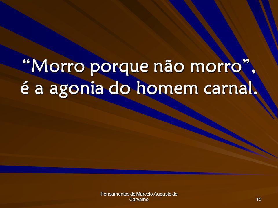 Pensamentos de Marcelo Augusto de Carvalho 15 Morro porque não morro, é a agonia do homem carnal.