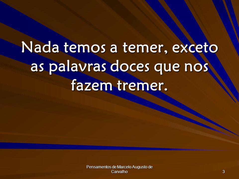 Pensamentos de Marcelo Augusto de Carvalho 3 Nada temos a temer, exceto as palavras doces que nos fazem tremer.