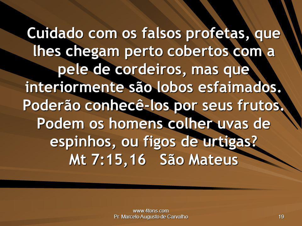 www.4tons.com Pr. Marcelo Augusto de Carvalho 19 Cuidado com os falsos profetas, que lhes chegam perto cobertos com a pele de cordeiros, mas que inter