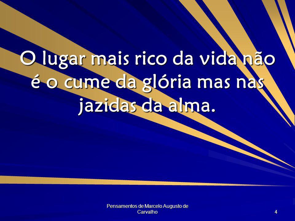 Pensamentos de Marcelo Augusto de Carvalho 4 O lugar mais rico da vida não é o cume da glória mas nas jazidas da alma.