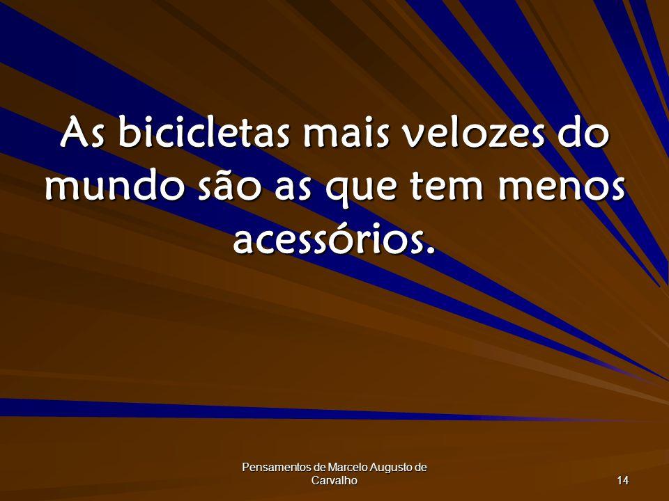 Pensamentos de Marcelo Augusto de Carvalho 14 As bicicletas mais velozes do mundo são as que tem menos acessórios.