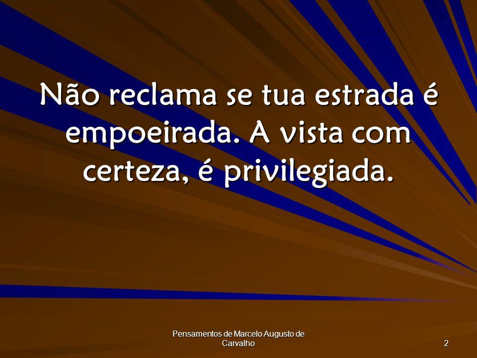 Pensamentos de Marcelo Augusto de Carvalho 2 Não reclama se tua estrada é empoeirada. A vista com certeza, é privilegiada.