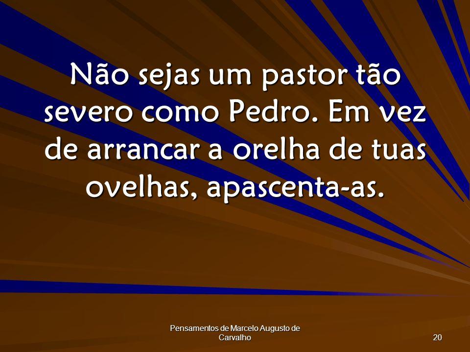 Pensamentos de Marcelo Augusto de Carvalho 20 Não sejas um pastor tão severo como Pedro. Em vez de arrancar a orelha de tuas ovelhas, apascenta-as.