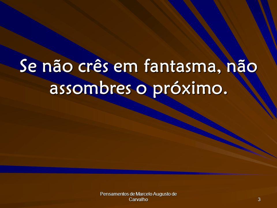 Pensamentos de Marcelo Augusto de Carvalho 3 Se não crês em fantasma, não assombres o próximo.