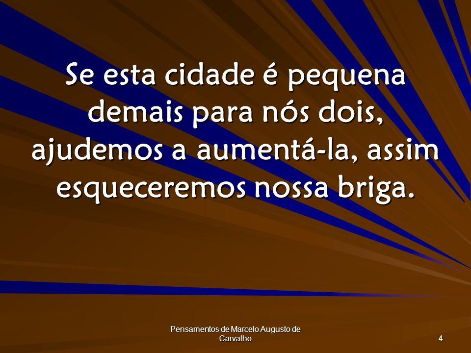 Pensamentos de Marcelo Augusto de Carvalho 4 Se esta cidade é pequena demais para nós dois, ajudemos a aumentá-la, assim esqueceremos nossa briga.