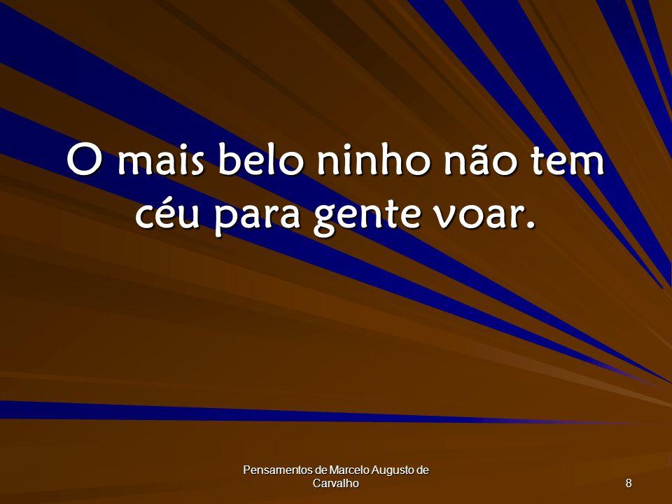 Pensamentos de Marcelo Augusto de Carvalho 8 O mais belo ninho não tem céu para gente voar.