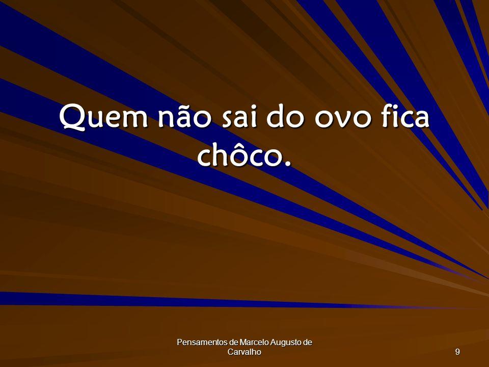 Pensamentos de Marcelo Augusto de Carvalho 9 Quem não sai do ovo fica chôco.