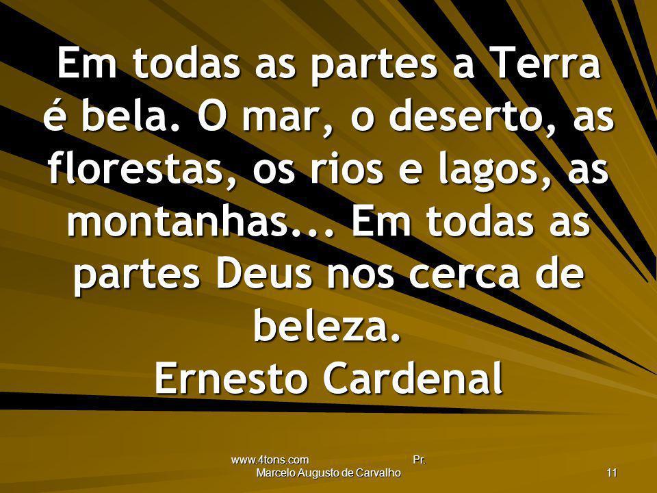 www.4tons.com Pr. Marcelo Augusto de Carvalho 11 Em todas as partes a Terra é bela. O mar, o deserto, as florestas, os rios e lagos, as montanhas... E