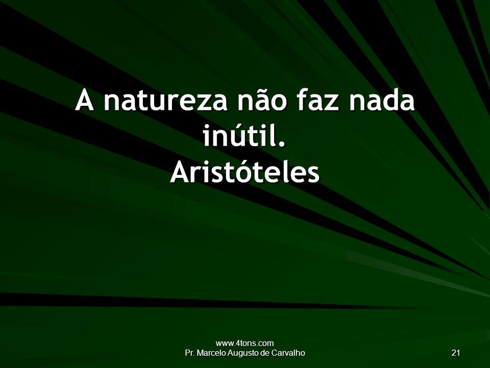 www.4tons.com Pr. Marcelo Augusto de Carvalho 21 A natureza não faz nada inútil. Aristóteles