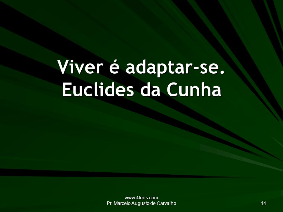 www.4tons.com Pr. Marcelo Augusto de Carvalho 14 Viver é adaptar-se. Euclides da Cunha