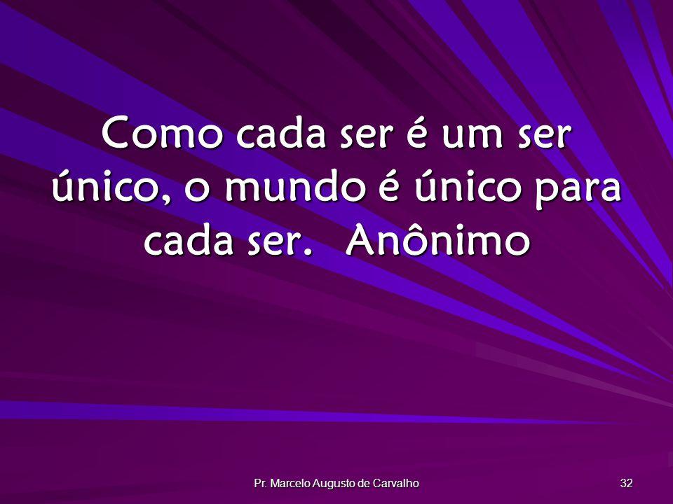 Pr. Marcelo Augusto de Carvalho 32 Como cada ser é um ser único, o mundo é único para cada ser.Anônimo