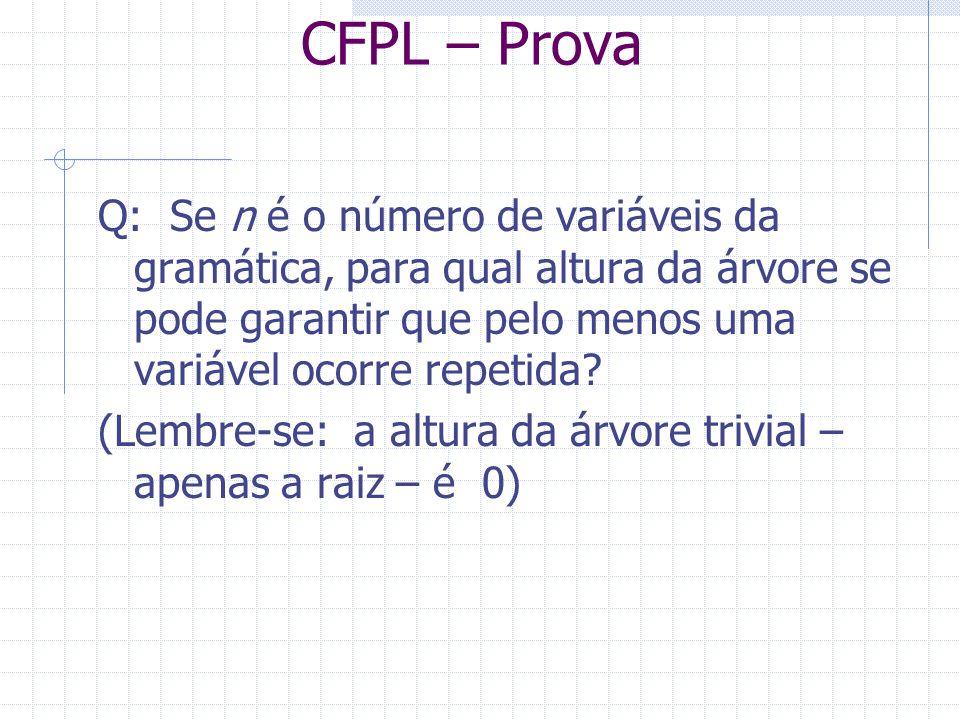 CFPL – Prova Q: Se n é o número de variáveis da gramática, para qual altura da árvore se pode garantir que pelo menos uma variável ocorre repetida? (L