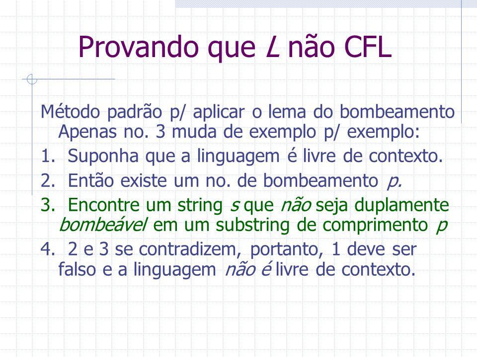 Provando que L não CFL Método padrão p/ aplicar o lema do bombeamento Apenas no. 3 muda de exemplo p/ exemplo: 1. Suponha que a linguagem é livre de c