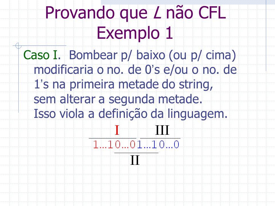 Provando que L não CFL Exemplo 1 Caso I. Bombear p/ baixo (ou p/ cima) modificaria o no. de 0s e/ou o no. de 1s na primeira metade do string, sem alte