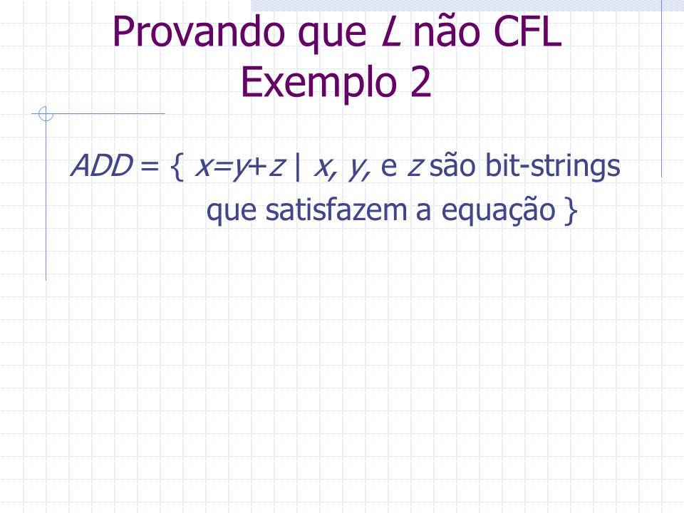 Provando que L não CFL Exemplo 2 ADD = { x=y+z | x, y, e z são bit-strings que satisfazem a equação }