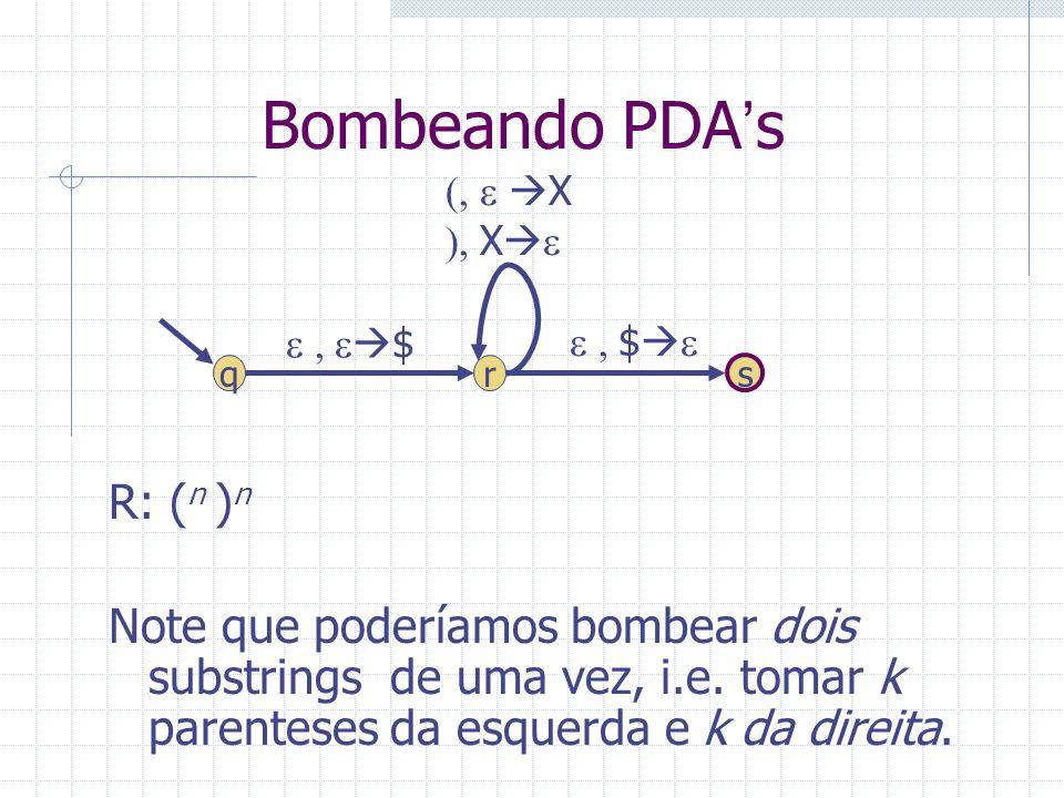 Bombeando PDAs R: ( n ) n Note que poderíamos bombear dois substrings de uma vez, i.e. tomar k parenteses da esquerda e k da direita. r s $ q $ X