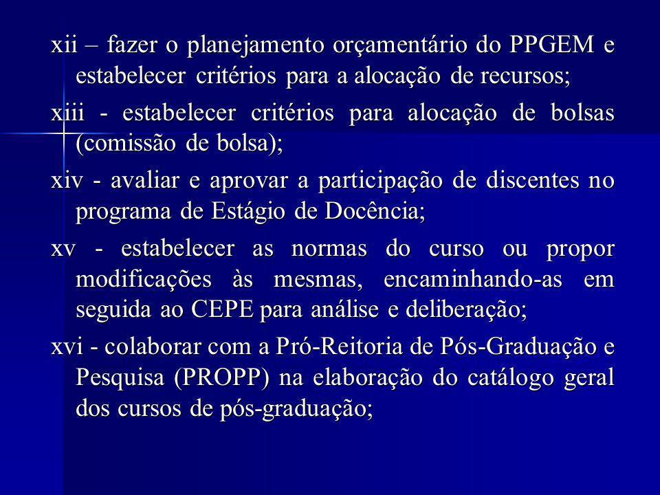 xii – fazer o planejamento orçamentário do PPGEM e estabelecer critérios para a alocação de recursos; xiii - estabelecer critérios para alocação de bolsas (comissão de bolsa); xiv - avaliar e aprovar a participação de discentes no programa de Estágio de Docência; xv - estabelecer as normas do curso ou propor modificações às mesmas, encaminhando-as em seguida ao CEPE para análise e deliberação; xvi - colaborar com a Pró-Reitoria de Pós-Graduação e Pesquisa (PROPP) na elaboração do catálogo geral dos cursos de pós-graduação; Atribuições do Presidente do colegiado/ coordenação Atribuições do Presidente do colegiado/ coordenação i – Convocar e presidir as reuniões do colegiado permanente.
