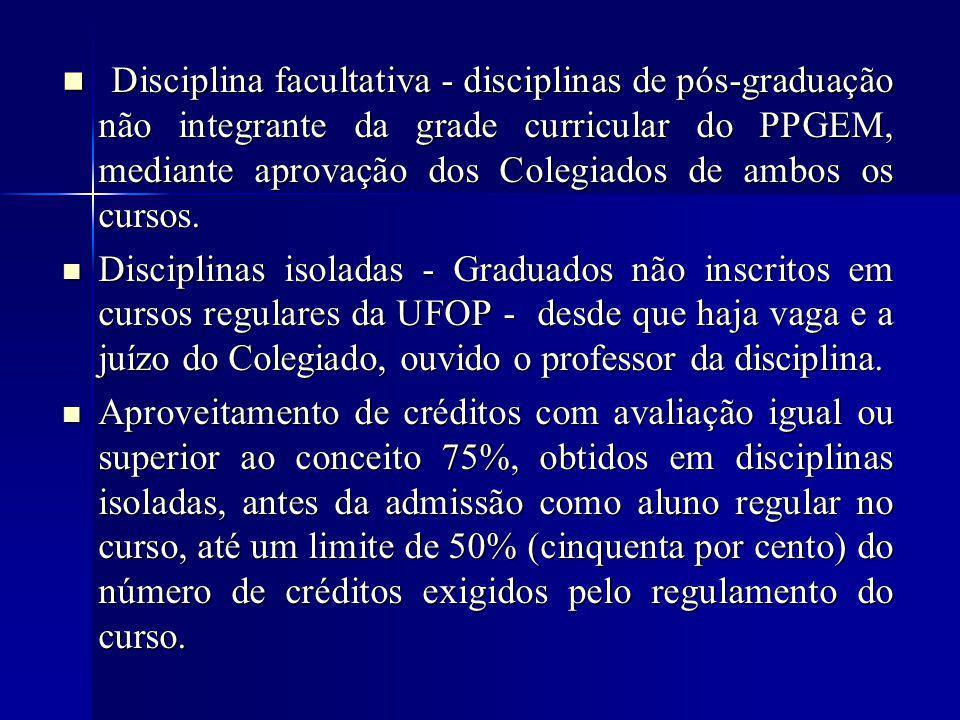 Disciplina facultativa - disciplinas de pós-graduação não integrante da grade curricular do PPGEM, mediante aprovação dos Colegiados de ambos os cursos.