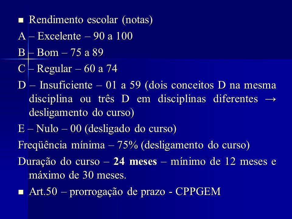 Rendimento escolar (notas) Rendimento escolar (notas) A – Excelente – 90 a 100 B – Bom – 75 a 89 C – Regular – 60 a 74 D – Insuficiente – 01 a 59 (dois conceitos D na mesma disciplina ou três D em disciplinas diferentes desligamento do curso) E – Nulo – 00 (desligado do curso) Freqüência mínima – 75% (desligamento do curso) Duração do curso – 24 meses – mínimo de 12 meses e máximo de 30 meses.
