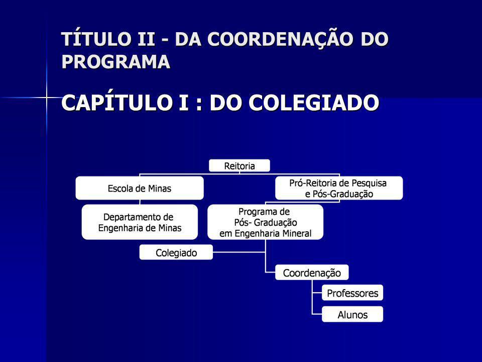 TÍTULO II - DA COORDENAÇÃO DO PROGRAMA CAPÍTULO I : DO COLEGIADO