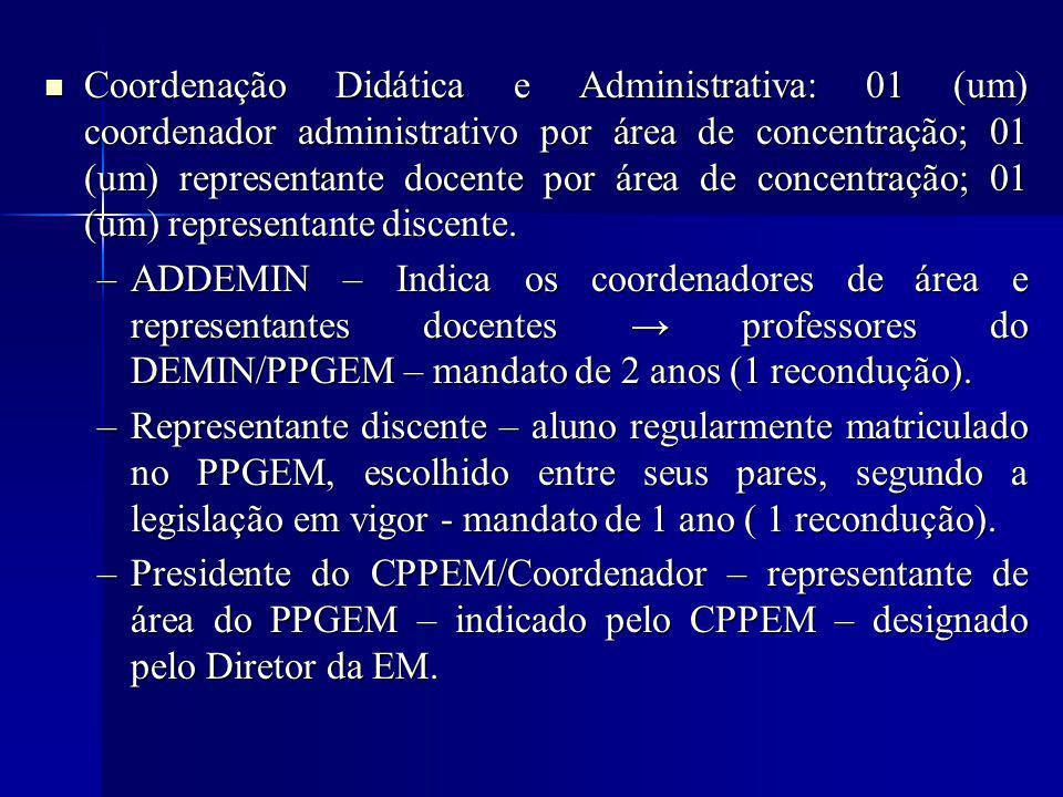 Coordenação Didática e Administrativa: 01 (um) coordenador administrativo por área de concentração; 01 (um) representante docente por área de concentração; 01 (um) representante discente.
