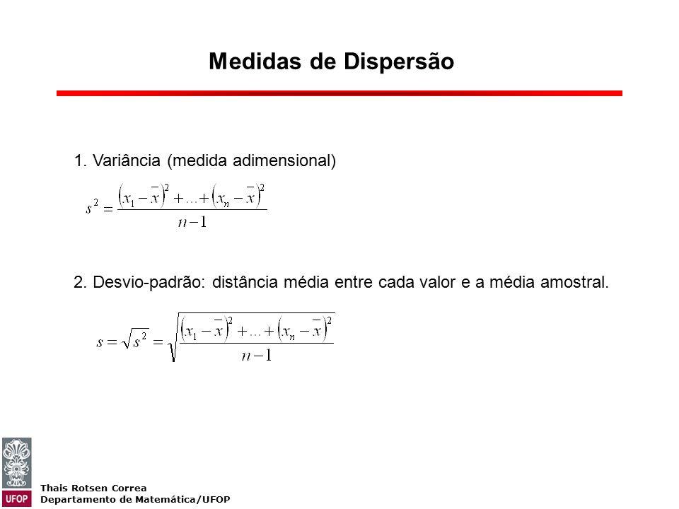 Thais Rotsen Correa Departamento de Matemática/UFOP Medidas de Dispersão 1. Variância (medida adimensional) 2. Desvio-padrão: distância média entre ca