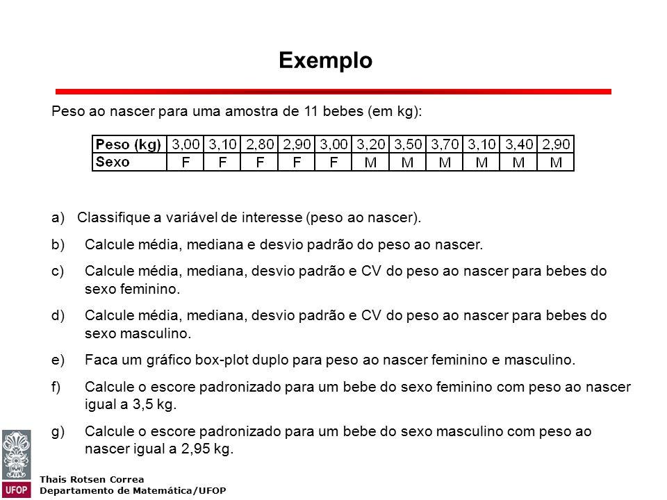 Thais Rotsen Correa Departamento de Matemática/UFOP Exemplo Peso ao nascer para uma amostra de 11 bebes (em kg): a) Classifique a variável de interess