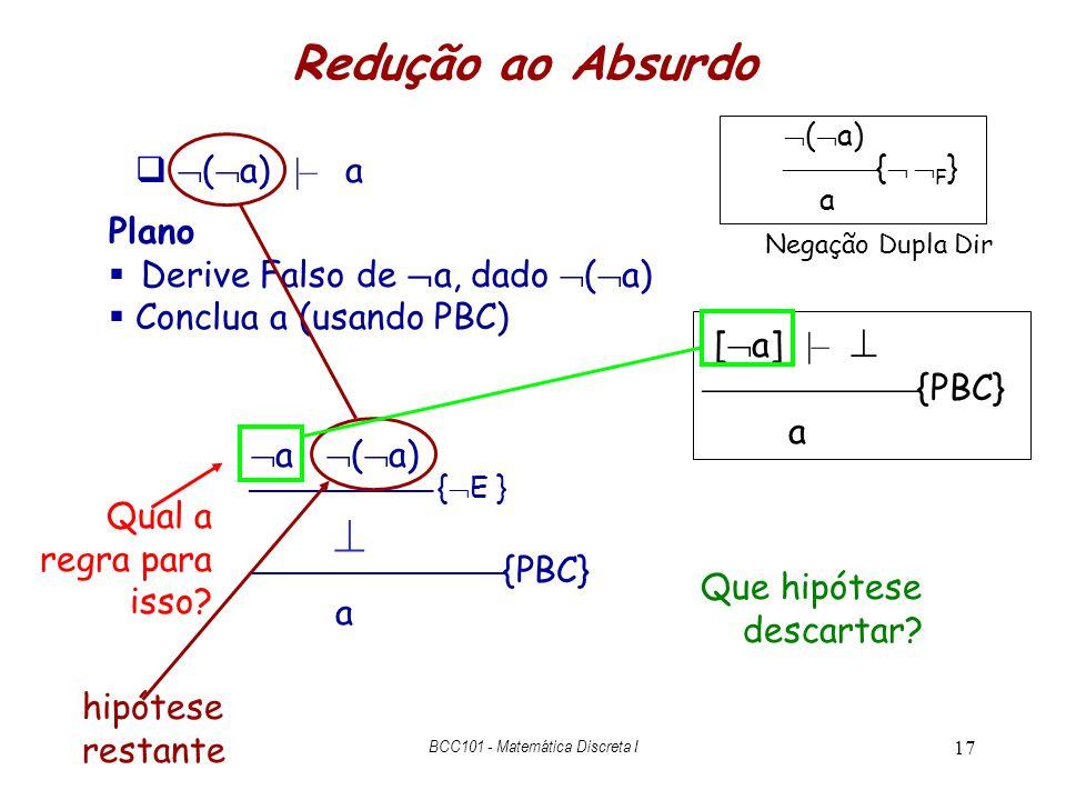 17 a ( a) Redução ao Absurdo ( a) |– a [ a] |– {PBC} a Plano Derive Falso de a, dado ( a) Conclua a (usando PBC) { E } {PBC} a hipótese restante Que h
