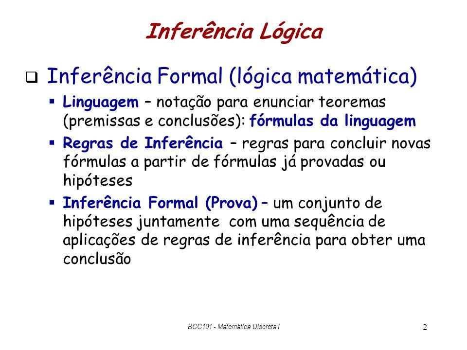 2 Inferência Formal (lógica matemática) Linguagem – notação para enunciar teoremas (premissas e conclusões): fórmulas da linguagem Regras de Inferênci