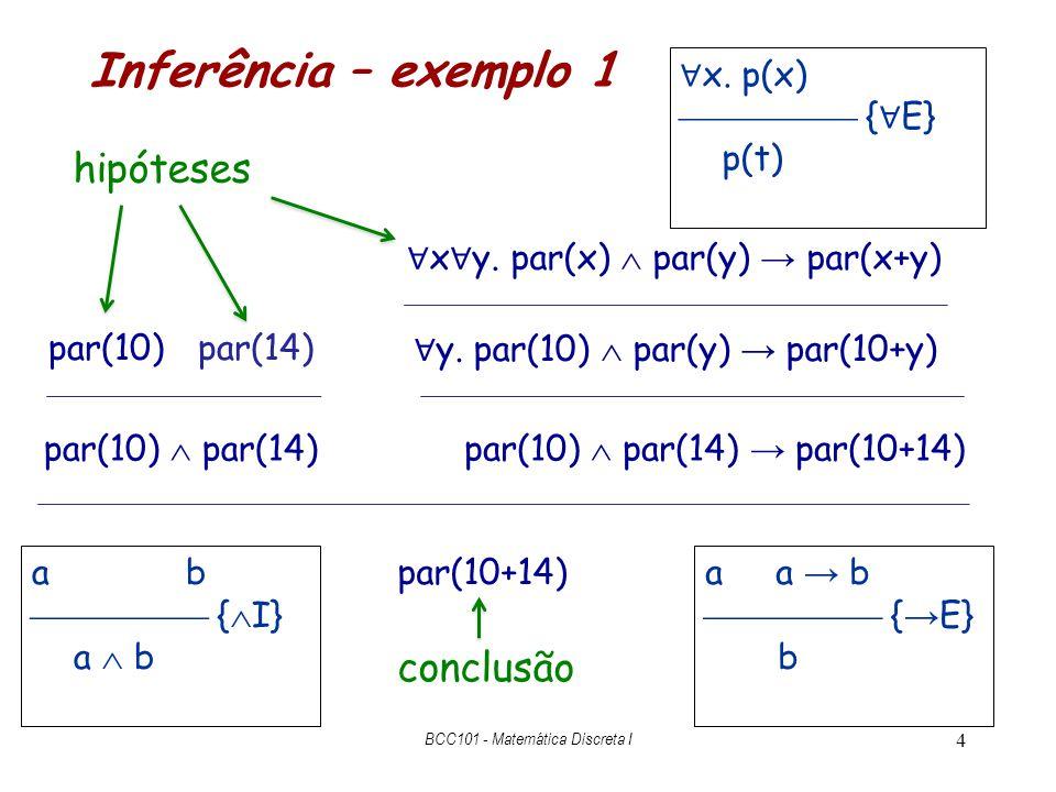 Um exemplo mais complicado a b, c a, b d  – c d 15 { modus tollens } c c aa c d a b { E } d b db { I L } c d { I R } c d BCC101 - Matemática Discreta I hipóteses descarregardas a b a  – c b  – c { E} c