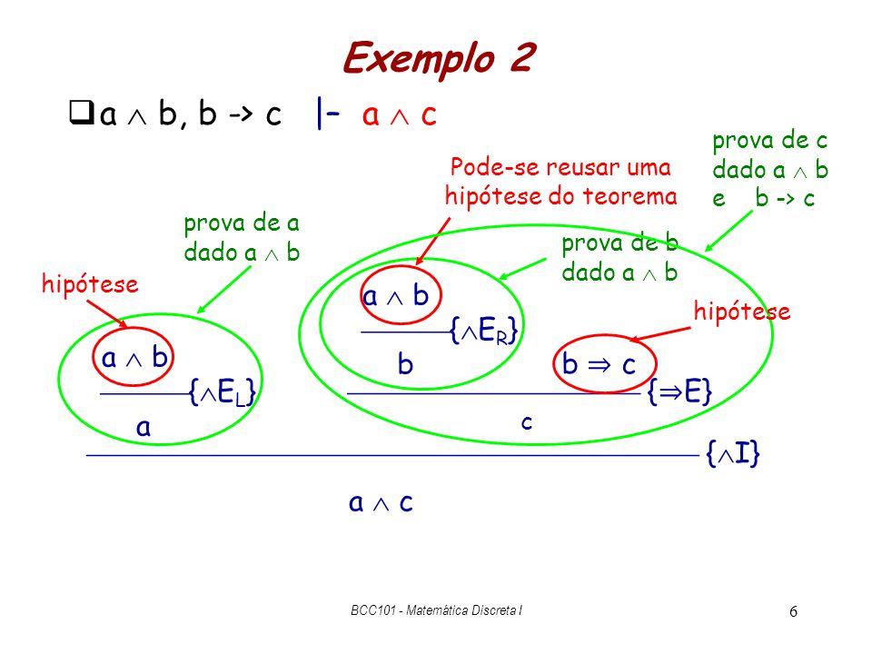 6 Exemplo 2 a b, b -> c |– a c a b { E R } b a b { E L } a { I} a c prova de a dado a b hipótese prova de b dado a b Pode-se reusar uma hipótese do te