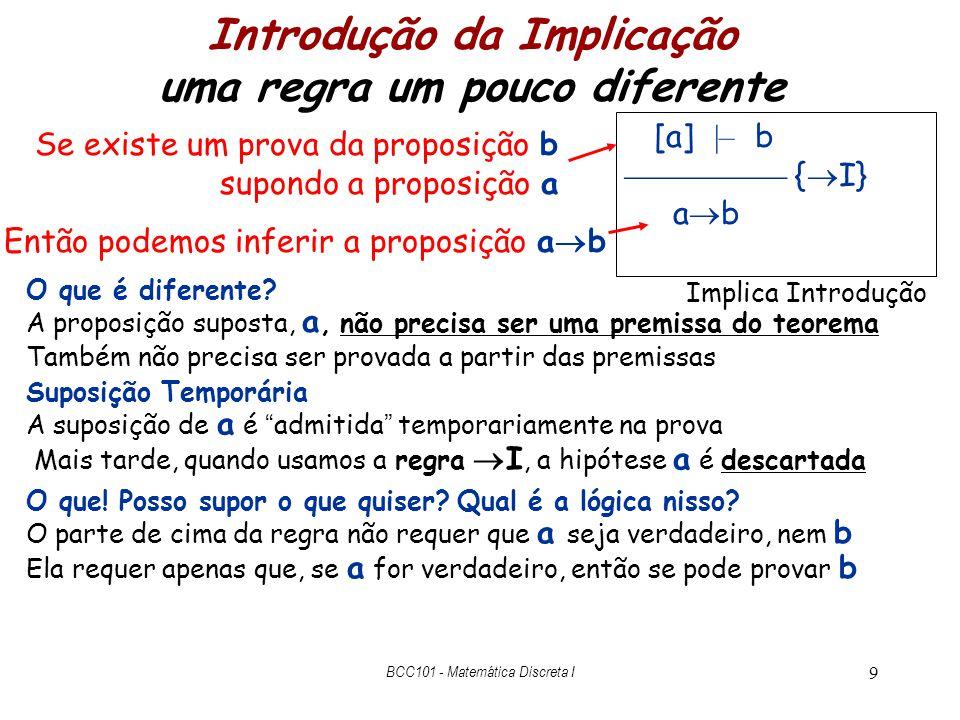 10 Como a Introdução da Implicação é usada  – P Q Q Prova P Q { E R } Q { I} P Q Q Isso prova o sequente P Q  – Q Nesse ponto a prova adimite, temporariamente, a hipótese extra P Q Implica Introdução [a]  – b { I} a b Aplicando a regra I com a = P Q e b = Q Temos P Q  – Q e podemos inferir P Q Q Aplicando I descarrega-se hipótese extra BCC101 - Matemática Discreta I