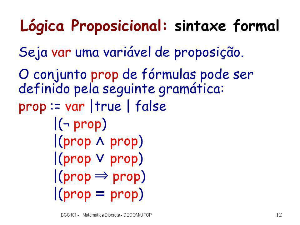 Lógica Proposicional: sintaxe formal Seja var uma variável de proposição.