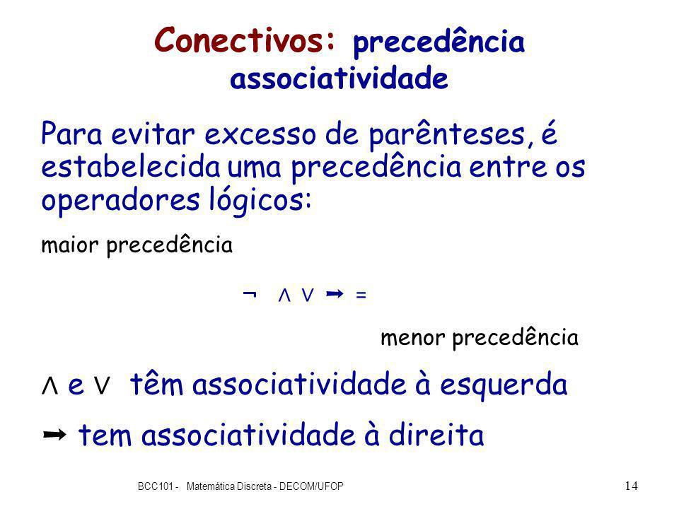 Conectivos: precedência associatividade Para evitar excesso de parênteses, é estabelecida uma precedência entre os operadores lógicos: maior precedência ¬ = menor precedência e têm associatividade à esquerda tem associatividade à direita BCC101 - Matemática Discreta - DECOM/UFOP 14