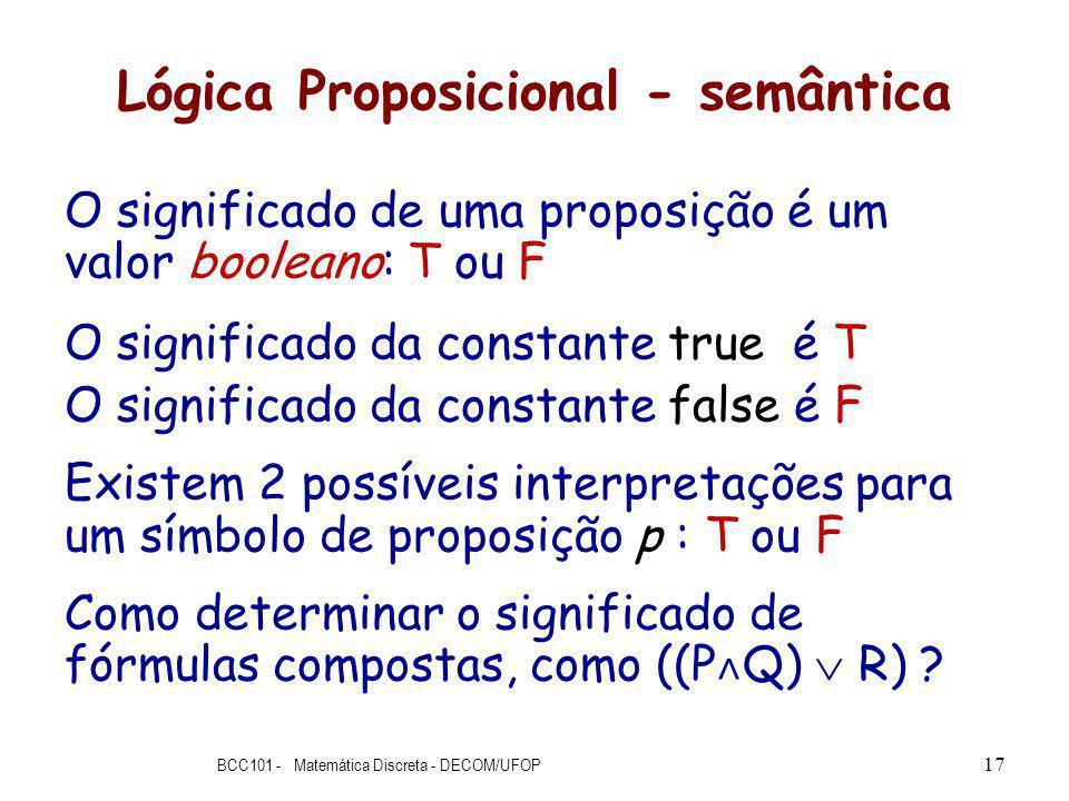Lógica Proposicional - semântica O significado de uma proposição é um valor booleano: T ou F O significado da constante true é T O significado da constante false é F Existem 2 possíveis interpretações para um símbolo de proposição p : T ou F Como determinar o significado de fórmulas compostas, como ((P ˄ Q) R) .