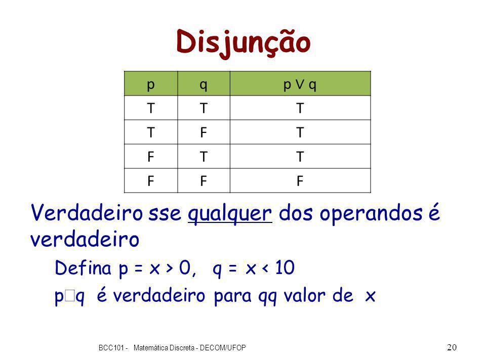 Disjunção Verdadeiro sse qualquer dos operandos é verdadeiro Defina p = x > 0, q = x < 10 p q é verdadeiro para qq valor de x BCC101 - Matemática Discreta - DECOM/UFOP 20 pq p q TTT TFT FTT FFF
