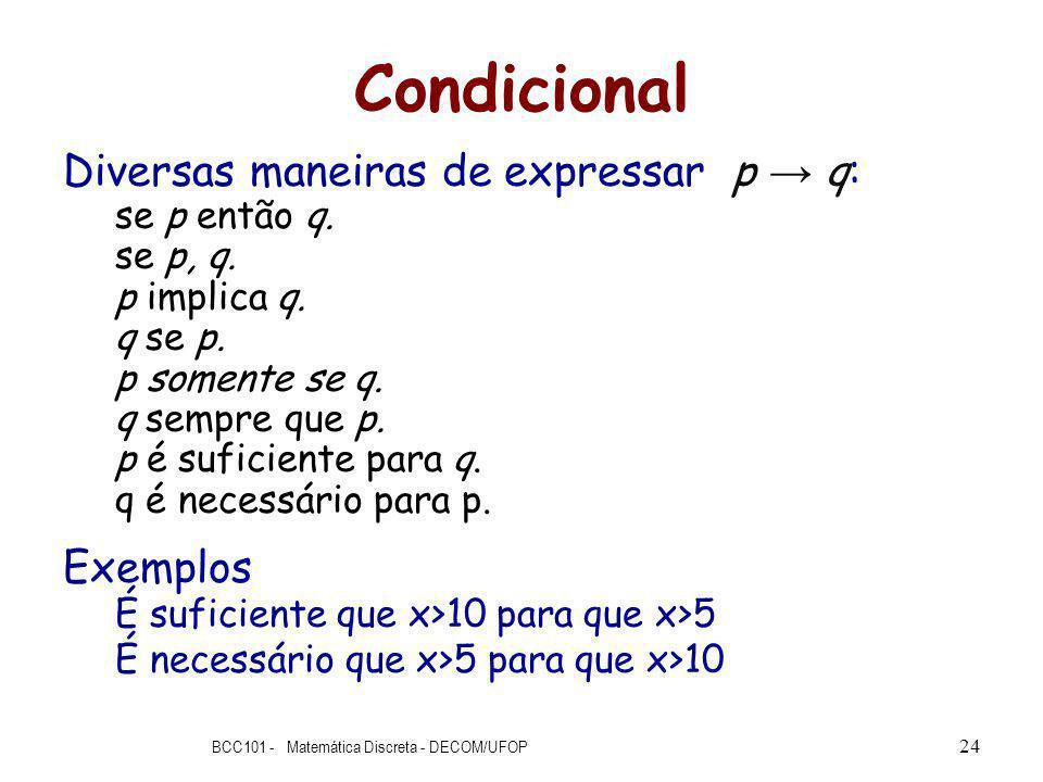 Condicional Diversas maneiras de expressar p q: se p então q.