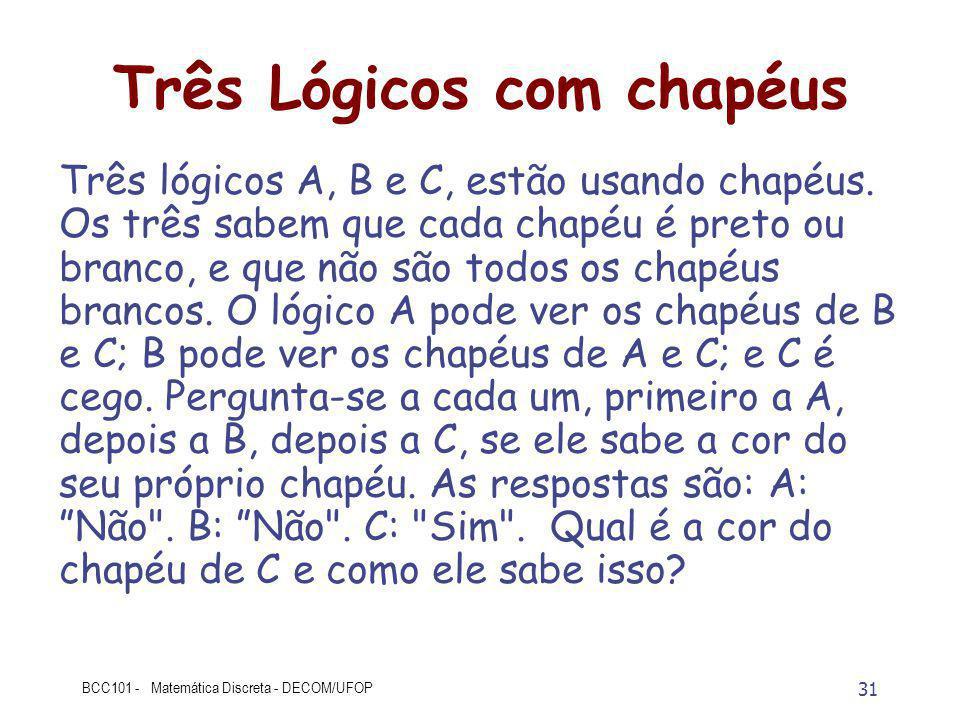 31 BCC101 - Matemática Discreta - DECOM/UFOP Três Lógicos com chapéus Três lógicos A, B e C, estão usando chapéus.