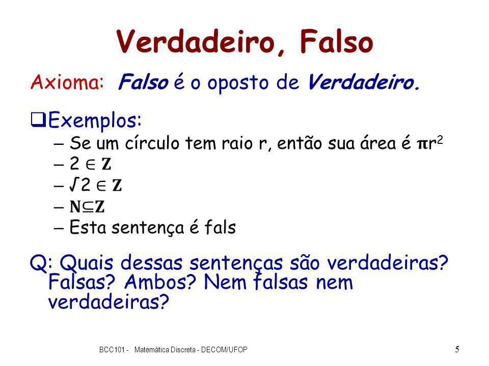 Verdadeiro, Falso Axioma: Falso é o oposto de Verdadeiro.