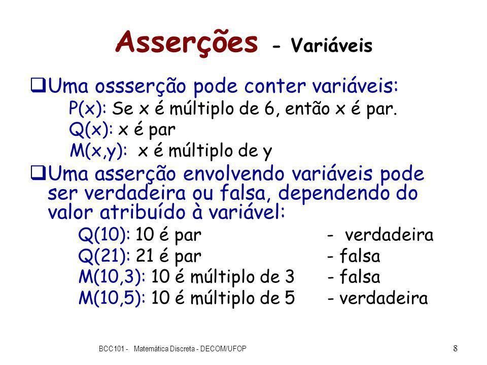 Asserções - Variáveis Uma ossserção pode conter variáveis: P(x): Se x é múltiplo de 6, então x é par.
