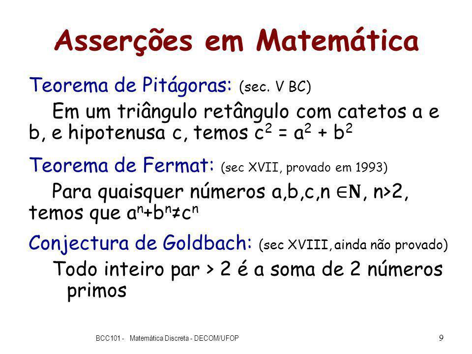 Asserções em Matemática Teorema de Pitágoras: (sec.