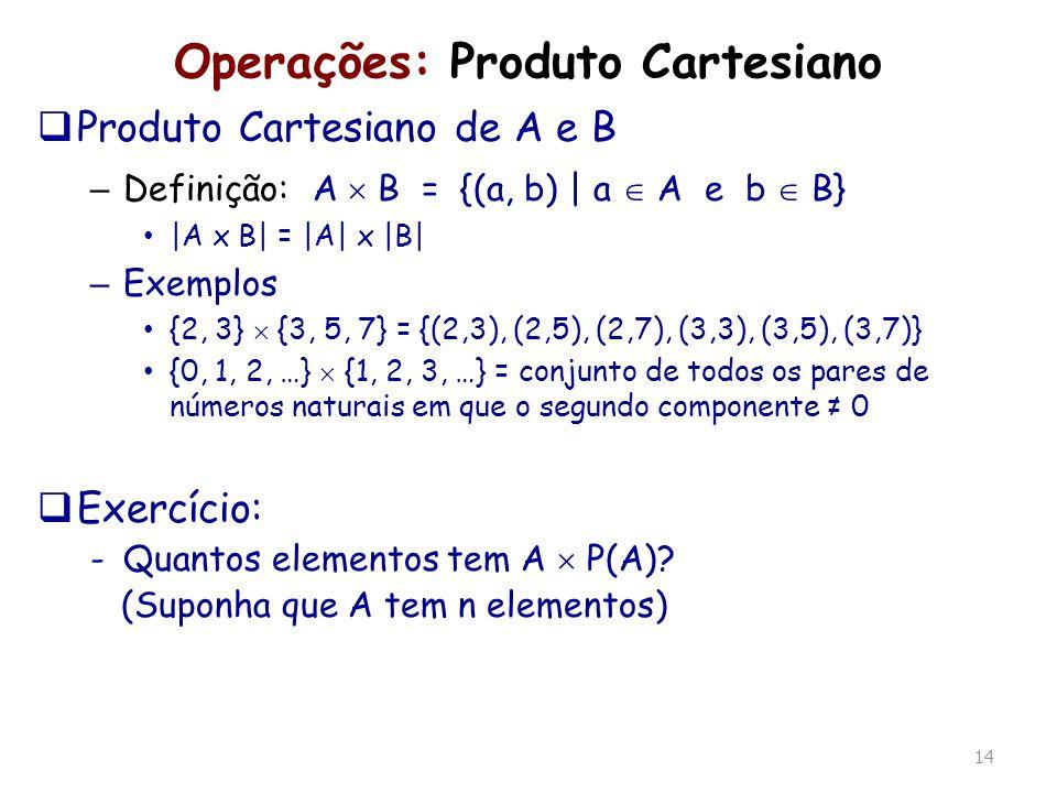 14 Operações: Produto Cartesiano Produto Cartesiano de A e B – Definição: A B = {(a, b) | a A e b B} |A x B| = |A| x |B| – Exemplos {2, 3} {3, 5, 7} =