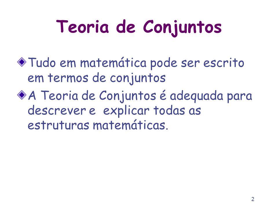 2 Tudo em matemática pode ser escrito em termos de conjuntos A Teoria de Conjuntos é adequada para descrever e explicar todas as estruturas matemática