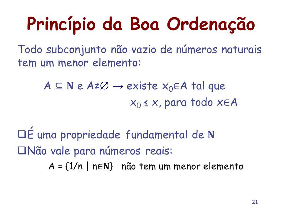 21 Princípio da Boa Ordenação Todo subconjunto não vazio de números naturais tem um menor elemento: A e A existe x 0 A tal que x 0 x, para todo x A É